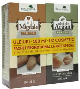 Pachet promotional Ulei de argan virgin 100 ml+Ulei de migdale dulci 100 ml Transvital Cosmetics